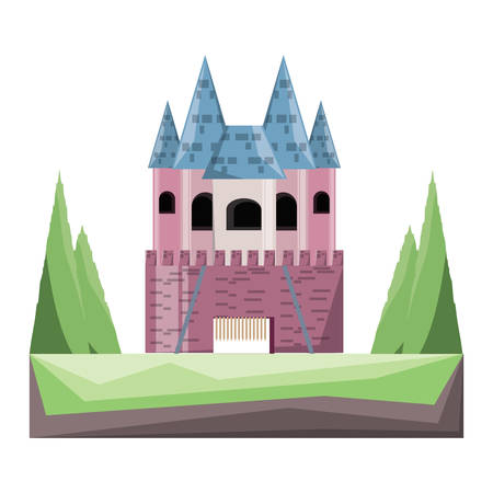 Princess castle with pines at the entrance over white background colorful design vector illustration