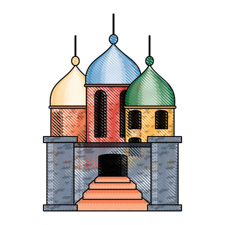 Arabian castle with stairs at the entrance over white background colorful design vector illustration