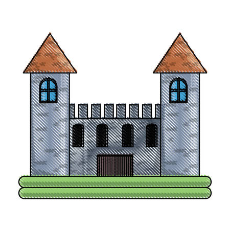 Medieval castle with two towers over white background colorful design vector illustration Illusztráció