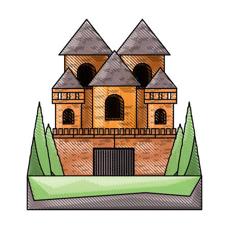 Big Medieval castle with towers and walls over white background , colorful design. vector illustration Illustration