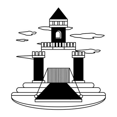Medieval castle walls and towers with drawbridge over white background black and white design vector illustration