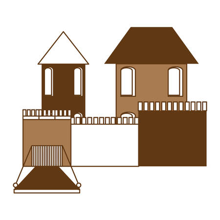 Medieval castle with drawbridge over white background, monochrome design. vector illustration