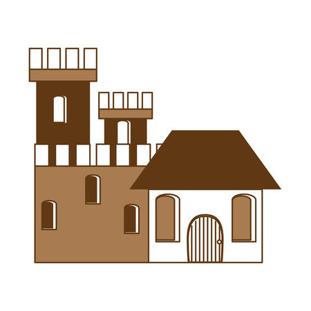 Medieval castle with two towers and walls over white background. monochrome design, vector illustration