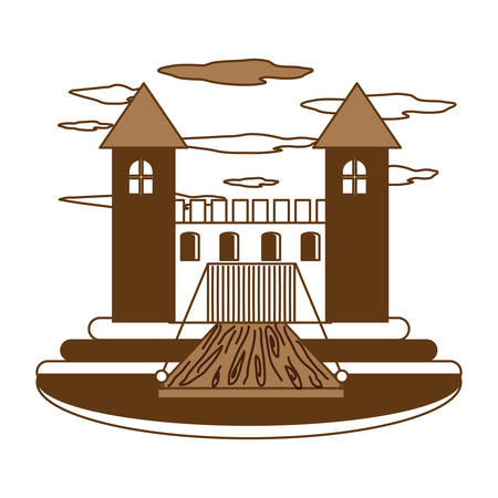 Medieval castle walls and towers with drawbridge over white background brown shading vector illustration