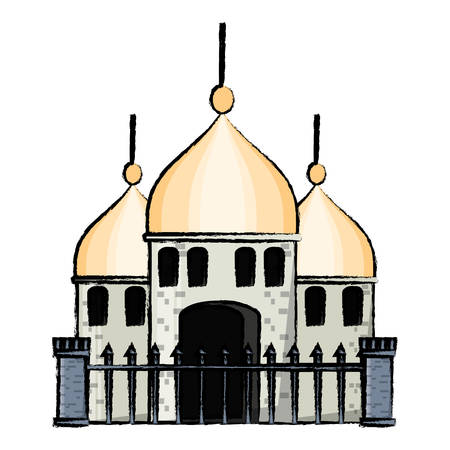 arabian castle with fence over white background colorful design vector illustration