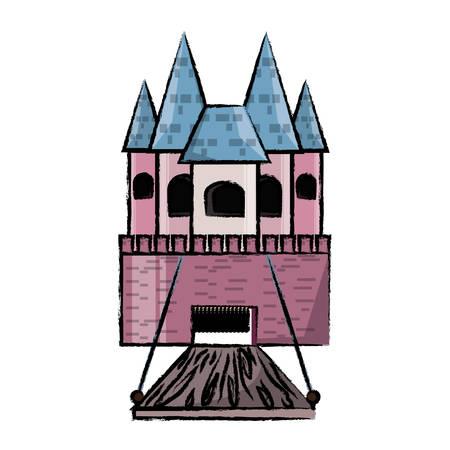 Princess castle icon over white background colorful design vector illustration