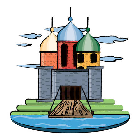 Medieval castle with towers and drawbridge, surrounded by water over white background vector illustration.