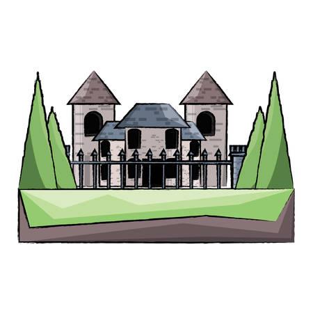 Modern castle with fence over white background colorful design vector illustration. Illustration