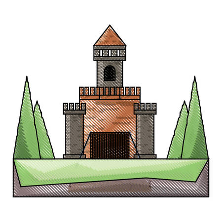 medieval castle with a tower and  drawbridge over white background colorful design vector illustration
