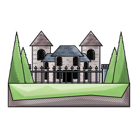 Modern castle with fence over white background colorful design vector illustration