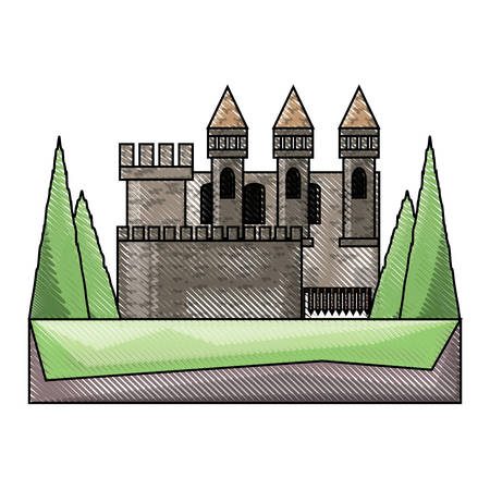 big medieval castle with  with towers and walls, surronded by pines over white background colorful design vector illustration
