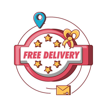 emblem of free delivery design with envelope and location pin icon over white background colorful design vector illustration