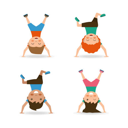 icon set of cartoon happy kids doing cartwheel  over white background colorful design vector illustration