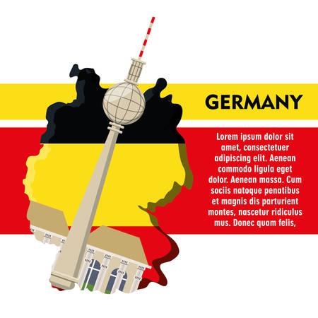 allemagne infographique design avec la tour de vitesse de londres de berlin icône sur fond blanc coloré design illustration vectorielle