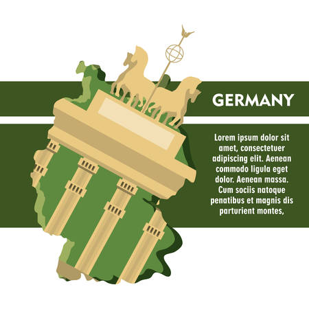 German parliament building and iconics buildings around over white background colorful design vector illustration 일러스트