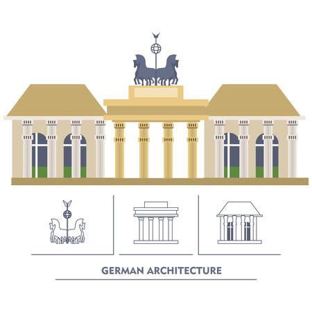 German parliament building and iconics buildings around over white background colorful design vector illustration Ilustração