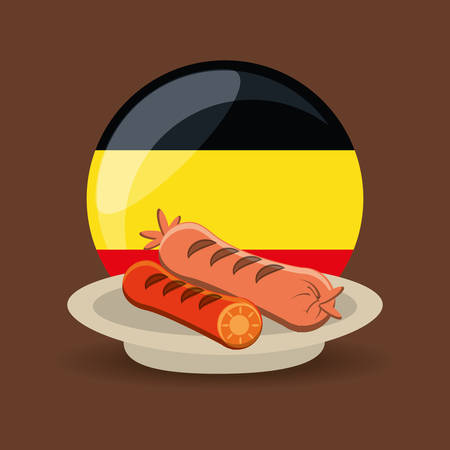 dish with sausages over germany flag in circle shape over brown background colorful design vector illustration