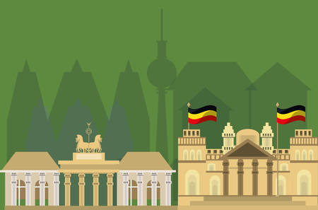 German parliament building and iconics buildings around over white background colorful design vector illustration Illustration
