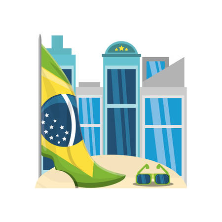 sunglasses and brazil flag in the sand over city buildings and white background colorful design vector illustration Imagens - 94041970