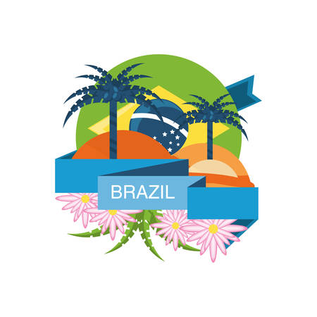 brazil design with palms and beautiful flowers over white background colorful design vector illustration Imagens - 94044346