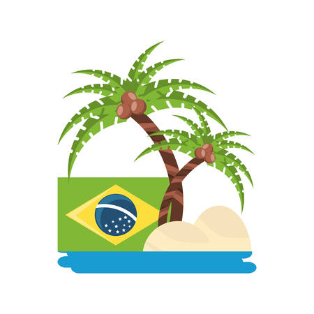 beach with palms and brazilian flag over white background vector illustration Ilustração