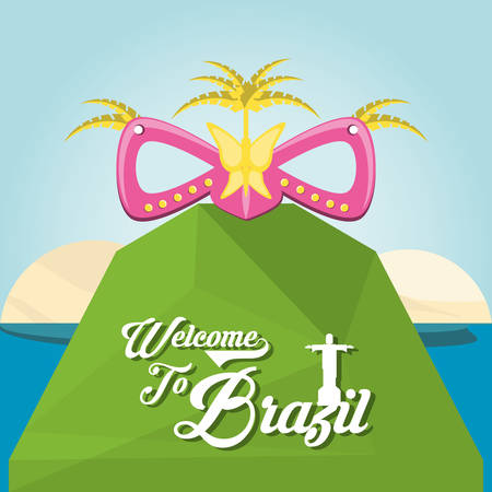 Welcome to brazil design with Brazilian Carnival Mask on the mountain  over beach background colorful design vector illustration Ilustração