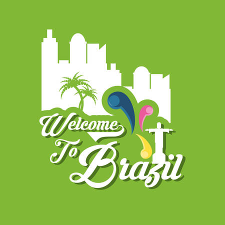 Welcome to brazil design with silhouette of the city icon over green background colorful design vector illustration