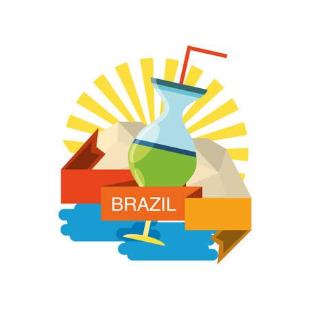 Brazil design with brazilian cocktail over white background colorful design vector illustration Ilustração