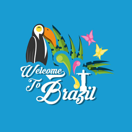 Welcome to brazil design with toucan and butterflies icon over blue background colorful design vector illustration Ilustração