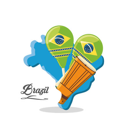 brazil design with maracas and congas drum over white background colorful design vector illustration
