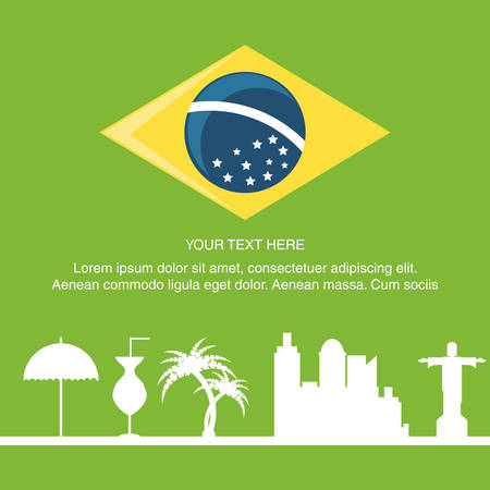 Welcome to brazil design with the braziliand flag and related icons over green background colorful design vector illustration Imagens - 94044109