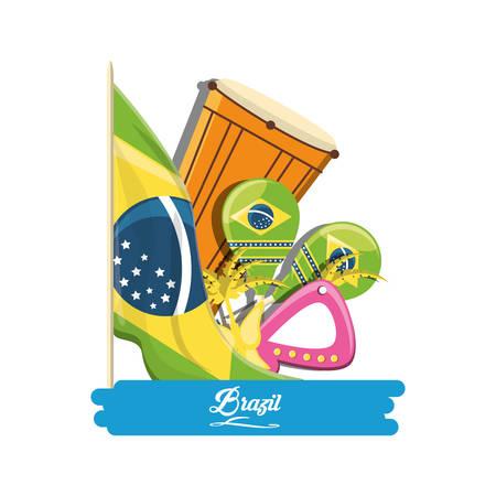 Brazil design with musical instruments and Brazilian Carnival Mask over white background colorful design vector illustration Ilustração