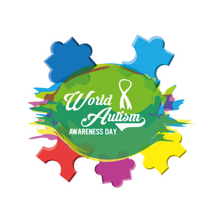 World Autism Awarness Day design with colorful pieces of puzzle over white background vector illustration