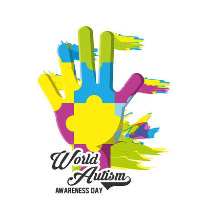 World Autism Awarness Day design with colorful hand with heart consisting of colorful puzzles over white background vector illustration Illustration