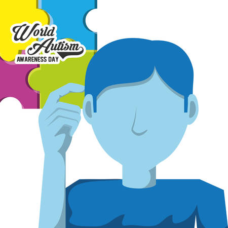 World autism awareness day design with avatar man with the hand on this head over white background colorful design vector illustration Ilustração