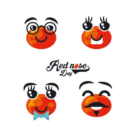 Cartoon Red noses icon set over white background colorful design vector illustration