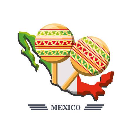 Mexican symbol musical maracas