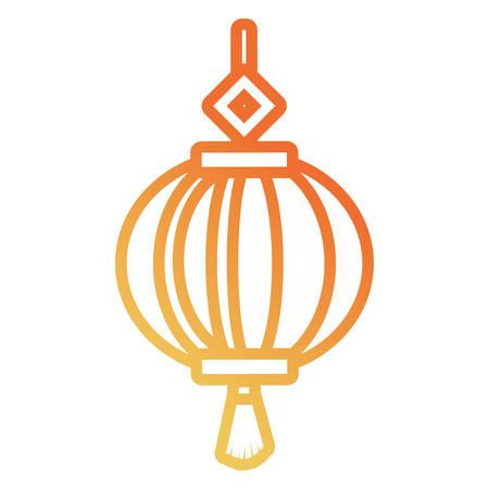 Flat line gradient orange decorative circular pendant design vector illustration.