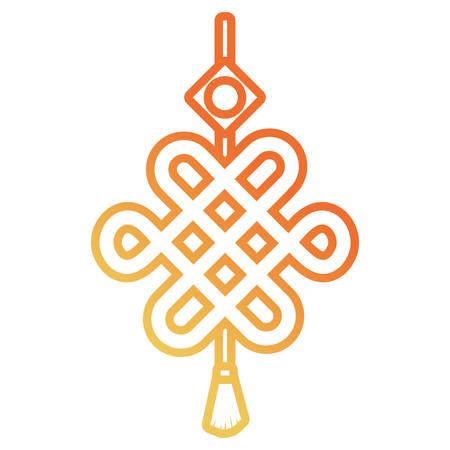 Flat line gradient orange decorative pendant design vector illustration.