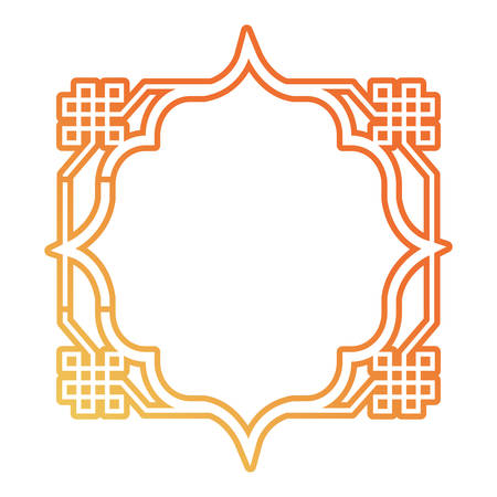 Flat line gradient orange octagonal frame with decorative figures design vector illustration. Illustration