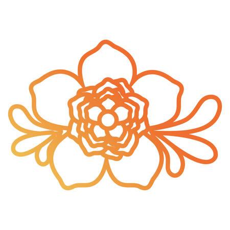 Flat line gradient orange flower design with leaves on the sides vector illustration.