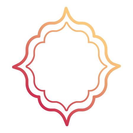 Flat line gradient pink and orange frame decorative design vector illustration