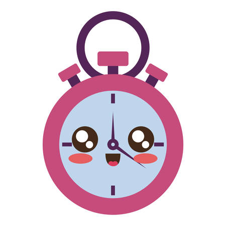 colored kawaii chronometer  over white background  vector illustration Illustration