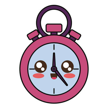 kawaii pink  chronometer  over white background  vector illustration