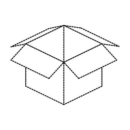Flat line uncolored carton box sticker over white background. Vector illustration.