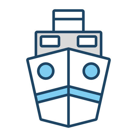 White and blue ship over white background vector illustration Illustration