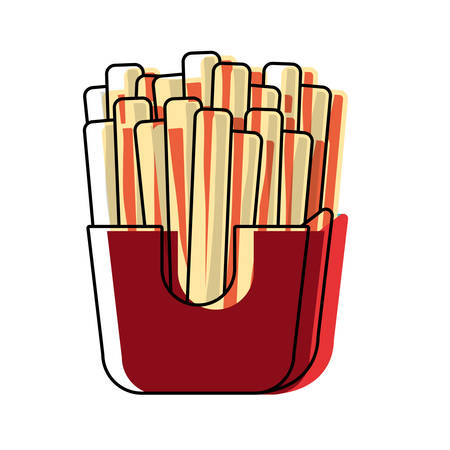 french fries box icon over white background, colorful design vector illustration