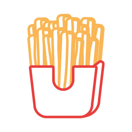 French fries icon over white background.