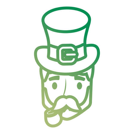 Cartoon man with beard wearing a irish top hat over white background, colorful line design. vector illustration