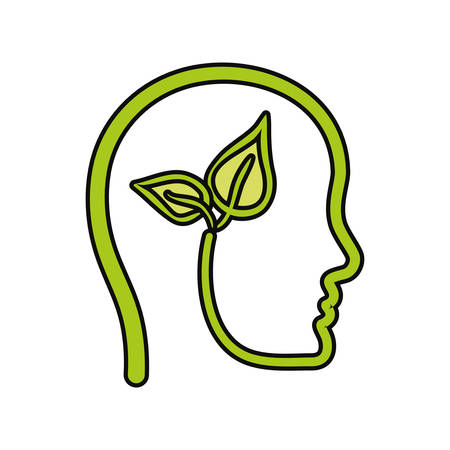 Head with leaves icon Illustration